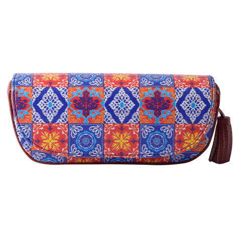Red Blue Tiles Sunglass Case