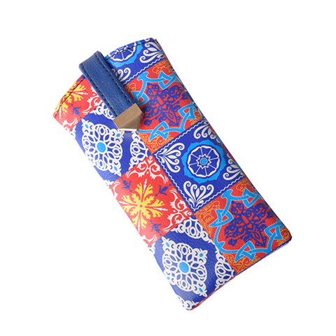 Red Blue Tile Flat Sunglass Cover