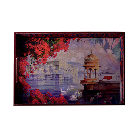 Bougainvillea Lacquer Finish Tray - Small