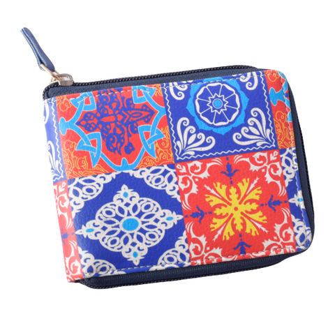 Red Blue Tile Compact Wallet