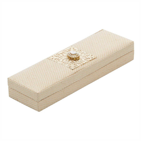 Cream Brocade Chain Box