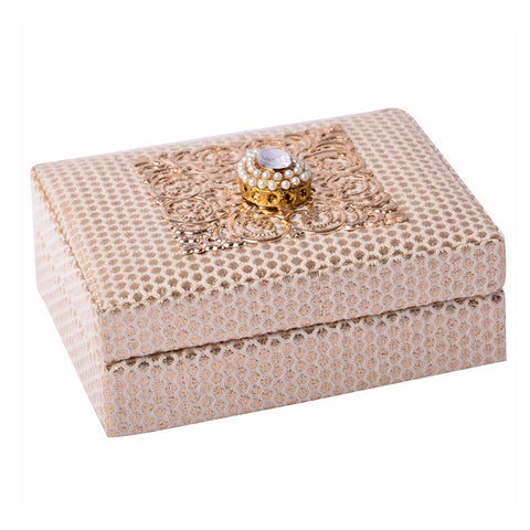 Cream Brocade Coin Box