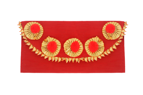 Gota n Pompom Fabric Envelope Red
