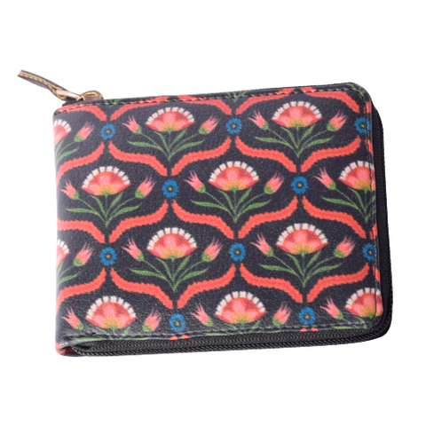Black Flower Compact Wallet