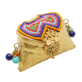 Metal Coin Gifting Purse With Multicolour Bead Work