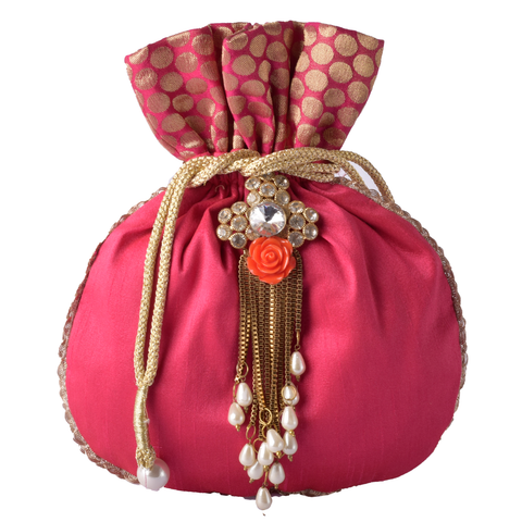 Silk and Brocade Potli With Broach