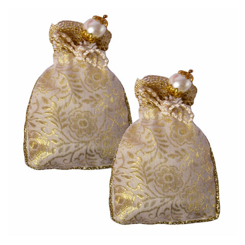 Cream Shiny Brocade Coin Pouch - Set of 2