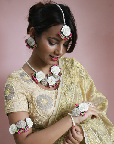 Artificial Jewellery Made With Roses & Pearls
