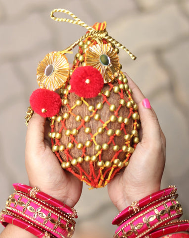 Coconut cover, Nariyal cover, Shagun ka nariyal, Nariyal jali, decorated nariyal