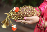 Gold Bead Mesh Decorative Coconut Cover