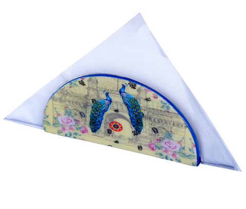 Peacock D Shaped Napkin Holder
