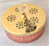 Scented Candle In Flat Copper Box With Crystal Knob