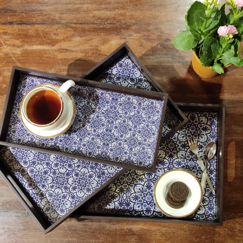 Blue Moroccan Tray Set