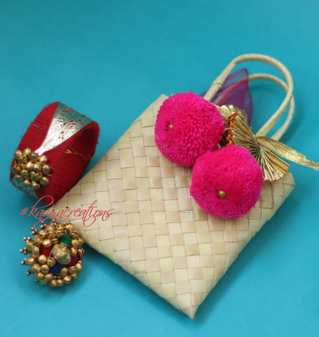 Cane Bag with Ghungroo Bangle & Ring