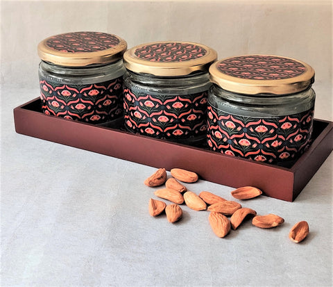 Black Flower 3 Jars & Tray Set