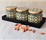 Stained Print 3 Jars & Tray Set