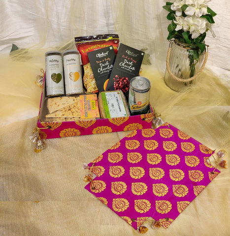 Reversible foil printed jute tray - Room Hamper