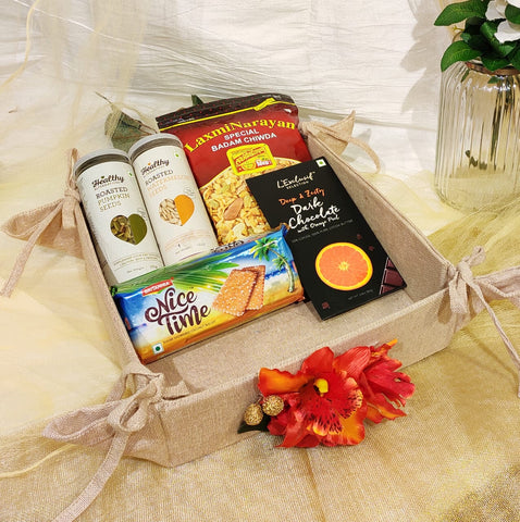 Collapsible printed jute tray - Room Hamper