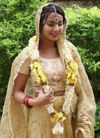 Yellow Roses and Gajra Artifical Varmala