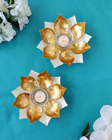 Lotus T-light, Tlight holder, Tlights, home decor, home decoration, decorative t-lights, festive tlights, festivals