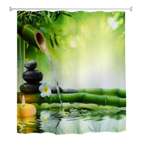 180 x 180cm Water Bamboo 3D Printed Shower Curtain