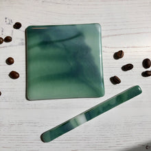 Coaster and Drink Stirrer Set / Coffee Lover Gift / Green Coaster Gift