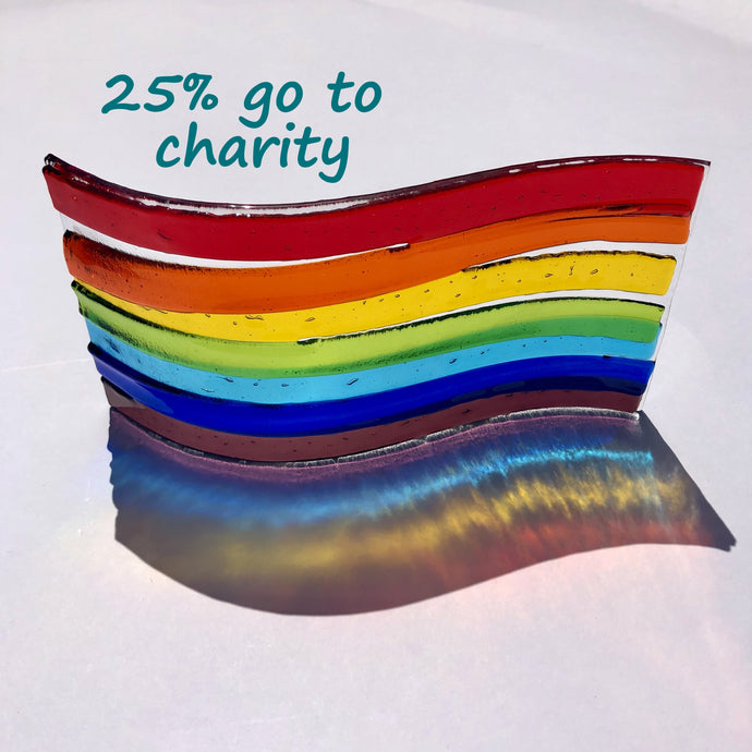 Fundraising Rainbow Glass Curve / NHS Charity / Glass Ornament / Pride