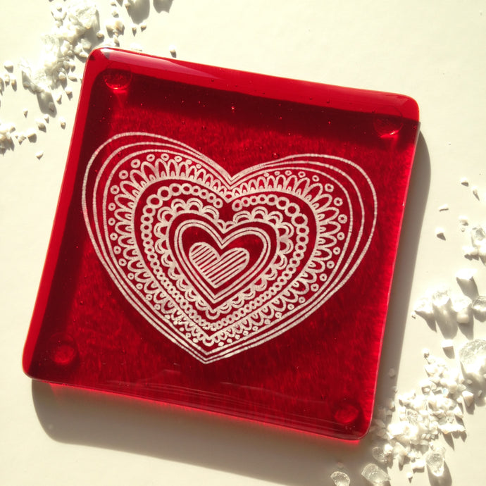 Heart Coaster / I Love you / Glass Coaster / Valentines Day