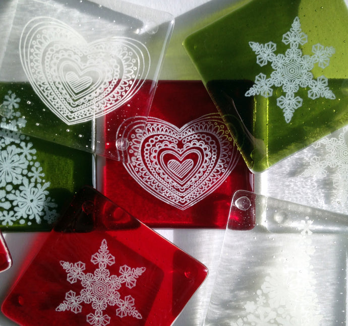 Heart Coaster / Snowflake Coaster / Tree Coaster Red Green White