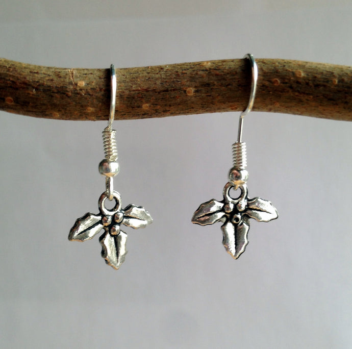 Holly Earrings / Holly Berries / Silver Holly / Berry Earrings