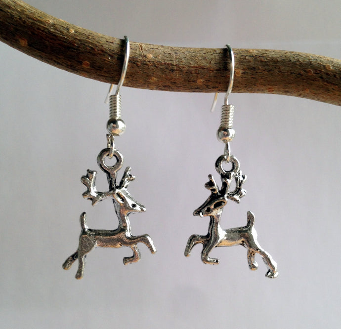 Reindeer Earrings / Stag Jewelry / Deer / Silver Stag