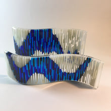 Tapestry Art Glass Striped Art Glass Curved Glass Art Blue and White