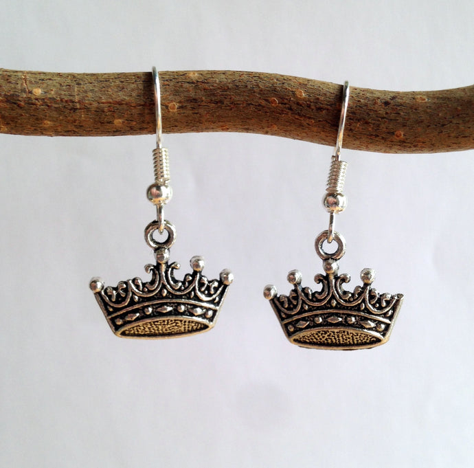 Crown Earrings / Silver Crown / King and Queen / Middle Ages / Kingston / King Arthur