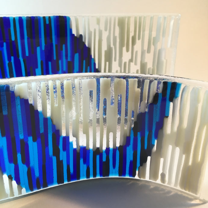 Fundraising: Tapestry Art Glass Striped Art Glass Curved Glass Art Blue and White