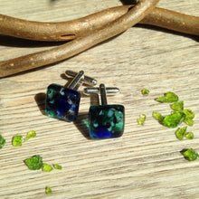 Blue and Green Cufflinks Fused Glass Cuff Links Fathers Day Gift Dad Birthday