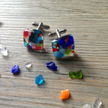 Confetti Cufflinks Rainbow Cufflinks Gift for Dad