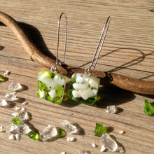 Green and White Jewelry Green Earrings Jade Green Jasmine Flower