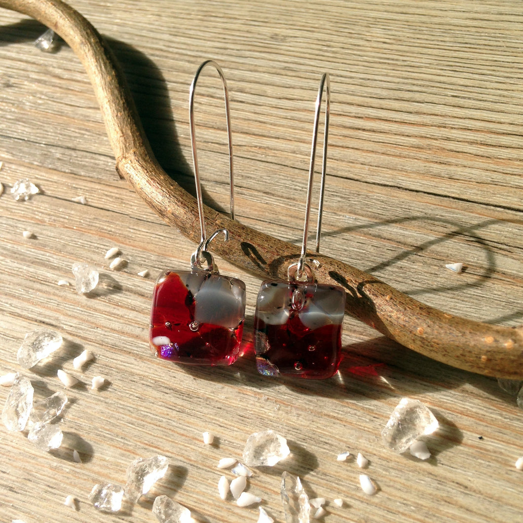 Ruby Red Sparkle Glass Sterling Silver Earrings Kidney Wire Handmade Glass