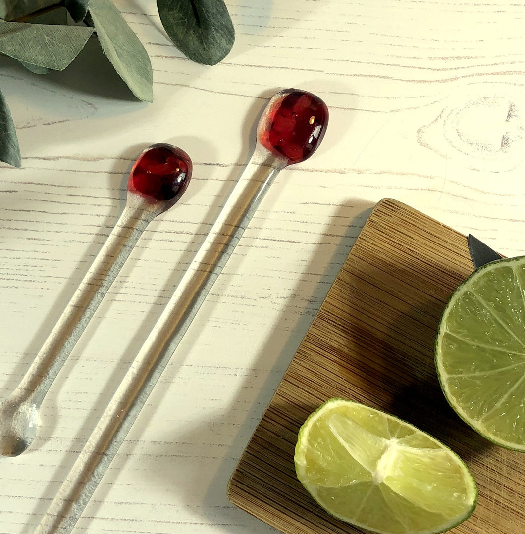 Cocktail Stirrer / Drink Stirrer / Quarantini / Swizzle Stick - Dark Red