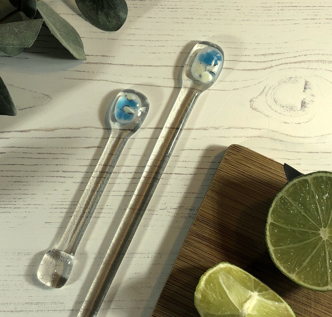 Cocktail Stirrer / Drink Stirrer / Quarantini / Swizzle Stick - Turquoise and Cream