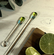 Cocktail Stirrer / Drink Stirrer / Quarantini / Swizzle Stick - Green and Turquoise