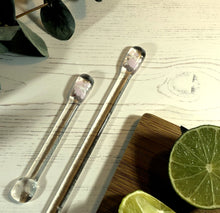 Cocktail Stirrer / Drink Stirrer / Quarantini / Swizzle Stick - Pale Pink and White