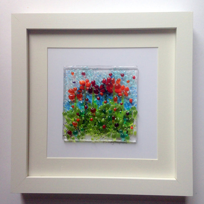 Flower Wall Art Meadow Art Glass Summer Flowers Orange Flower Meadow