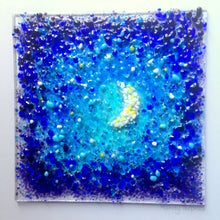 Moon and Stars / Starry Night Fused Glass Art