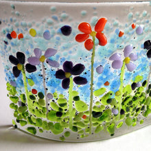 Summer Meadow Flower Art Glass Summer Orange and Lilac Meadow