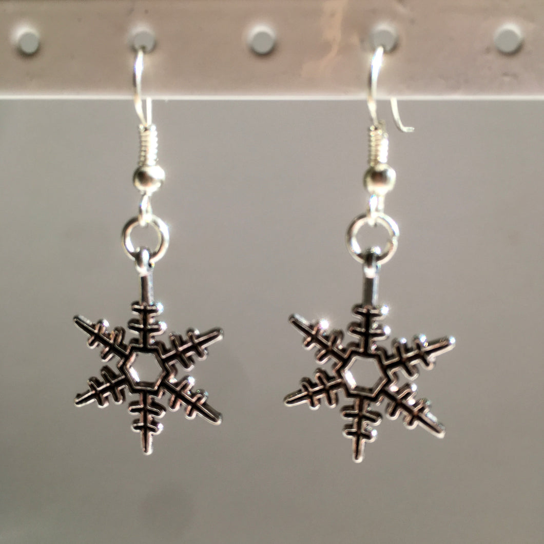 Let it Snow Earrings / Silver Snowflake Earrings / Snowflake Jewellery