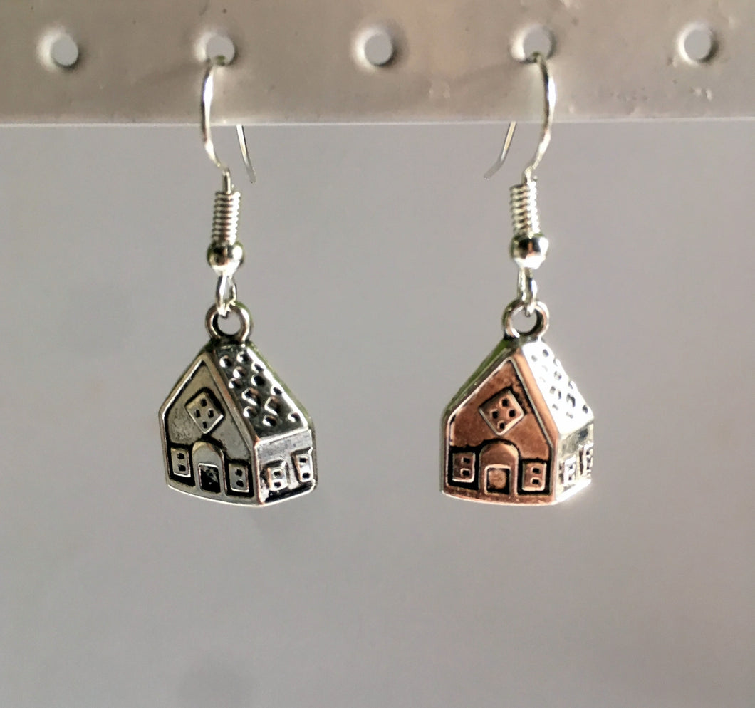 Gingerbread House Earrings / Christmas Earrings / Hansel and Gretel / Gift for Baker