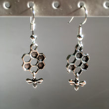 Bee Earrings / Honeycombe / Nature Lover / Bee Jewellery / Silver Bee