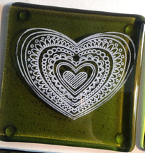 Set of 4 Green Heart Coasters  ***SECOND/DAMAGED ITEM *** / Heart Decor / Green Coaster Set