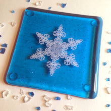 Snowflake Coaster in Turquoise / Winter Decor / Frozen Decor